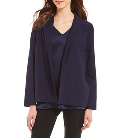 Eileen Fisher Stretch Crepe Shawl Collar Open Fron