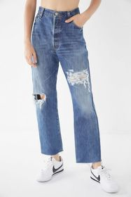 Urban Renewal Remade Destroyed Cropped Levi's Jean