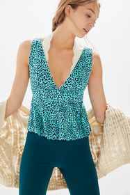 UO Heloise Plunging Peplum Top