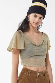 UO Loretta Metallic Cowl Neck Cropped Top