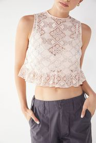 UO Quite Contrary Lace Peplum Tank Top