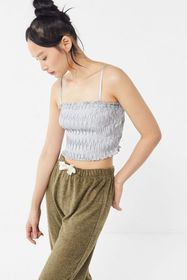 UO Vixen Plisse Straight-Neck Cropped Cami