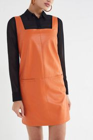 UO Faux Leather Square-Neck Pinafore Dress