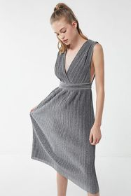 UO Florence Sparkly Pleated Midi Dress