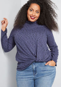 Twist I May Long Sleeve Top in Heather Blue