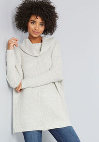 Throw in the Cowl Sweater in Mist Light Grey