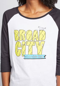 Broad City Raglan Graphic Tee in Black and White