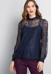 ModCloth Winsome Whims Long Sleeve Top teal