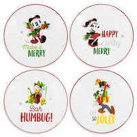 Santa Mickey Mouse and Friends Holiday Salad Plate