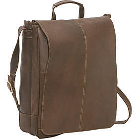 "Distressed Leather 17"" Laptop Messenger"
