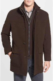 Cole Haan Wool Blend Topcoat with Inset Bib Cole H