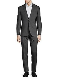 HUGO Henry Griffin Windowpane Wool Suit CHARCOAL