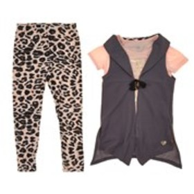 XOXO Girls Grey Vest, Graphic Tee & Leggings (7-16
