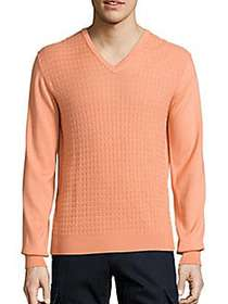Saks Fifth Avenue COLLECTION Jacquard V-Neck Wool