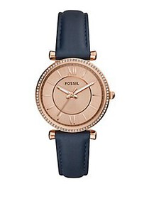 Fossil Carlie Three-Hand Leather Strap Watch NAVY