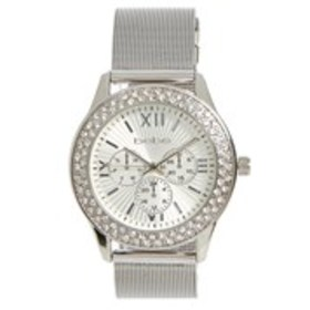 BEBE Womens Silver Crystal Bezel Chronograph Watch