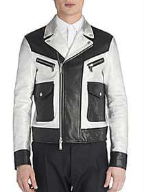 Viktor&Rolf Leather Two-Toned Jacket MULTICOLOR