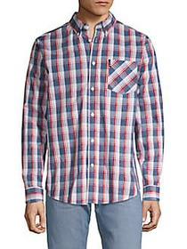 Ben Sherman Variegated Plaid Sport Shirt BLUE