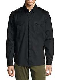 Karl Lagerfeld Collared Button-Front Shirt BLACK