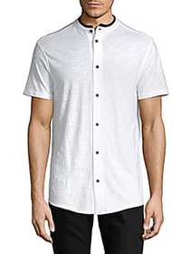 Karl Lagerfeld Short Sleeve Button Front Shirt WHI