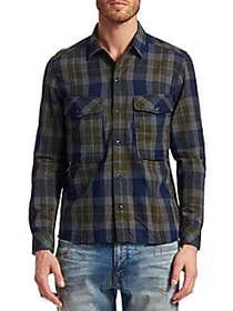 G-Star RAW Cotton Check Utility Shirt INDIGO GREEN