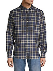 Valentino Plaid Cotton Button-Down Shirt BLUE BEIG