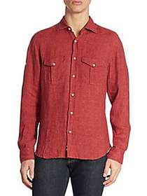 Saks Fifth Avenue COLLECTION Long Sleeves Linen Sh