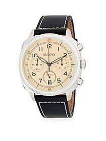 Bulova Military Stainless Steel and Leather-Strap