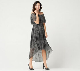 H by Halston Petite Convertible Pleated Hi-Low Hem