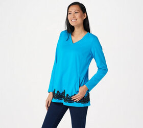 Linea by Louis Dell'Olio V-Neck Long Sleeve Top wi