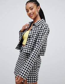 Emory Park trucker jacket in houndstooth two-piece
