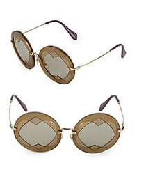 Miu Miu Heart Cut-Out 62MM Round Sunglasses GOLD B