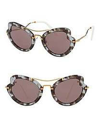 Miu Miu 52MM Curved Cat Eye Sunglasses PURPLE HAVA