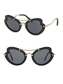 Miu Miu 52MM Curved Cat Eye Sunglasses BLACK