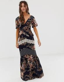 Hope & Ivy Mix And Match Printed Maxi Dress With L