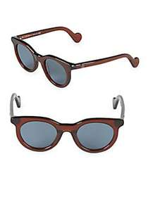 Moncler 44MM Round Sunglasses DARK BROWN