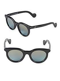 Moncler 47MM Round Sunglasses BLACK