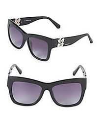 Swarovski 54MM Crystal Square Sunglasses BLACK