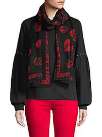Boutique Moschino All Of Heart Wool Scarf BLACK RE