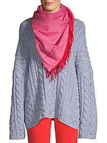 Burberry Cashmere Fringe Scarf BRIGHT RED