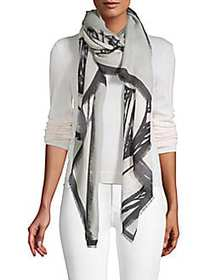 Burberry Printed Frayed Cashmere Scarf GREY