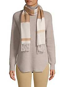 Cashmere Saks Fifth Avenue Fringed Check Wool Scar