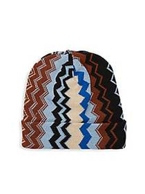 Missoni Chevron Knit Beanie BLUE MULTI