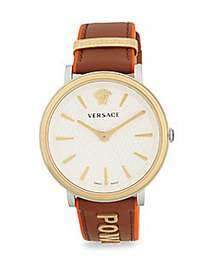 Versace Power Goldtone Stainless Steel & Leather-S
