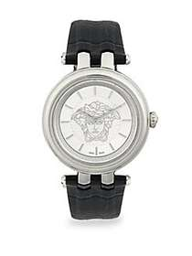 Versace Analog Stainless Steel & Leather-Strap Wat
