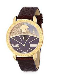 Versace Stainless Steel and Leather-Strap Watch GO