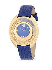 Versace Textured Round Stainless Steel and Leather