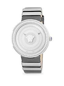Versace Textured Stainless Steel and Leather-Strap