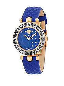 Versace Stainless Steel and Leather-Strap Watch RO