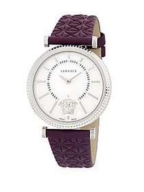 Versace Stainless Steel Analog Leather-Strap Watch